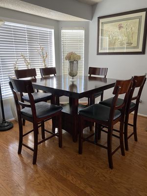 Dining Table With 6 Leather Chairs (Like New) OBO for Sale in Rancho Cucamonga, CA