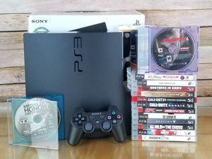 Ps3 Slim Matter Black 160GB Model CECH-2501A with Box +15 Games, PlayStation 3 for Sale in Westminster, CA