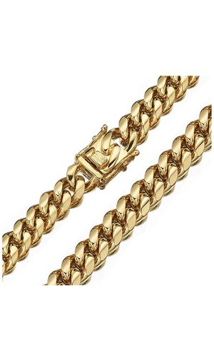 Necklace 26 inches 12mm Men and Women 18K Gold Cuban Link Chain Top 316L Stainless Steel tarnish free for Sale in Los Angeles, CA