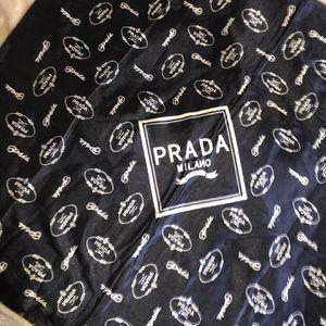 Vintage 1995 Prada Milano Logo Scarf : Navy Blue & White Throw Offers for Sale in Las Vegas, NV