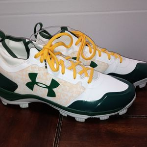 White Green Yellow Under Armour Cleats Size 12 for Sale in Los Angeles, CA