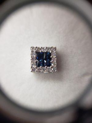 14 kt White Gold Diamond + Sapphire Earrings for Sale in Seymour, CT