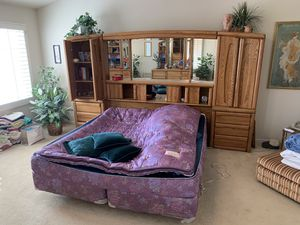 King Size Water Bed & Giant Lighted Headboard for Sale in Tracy, CA