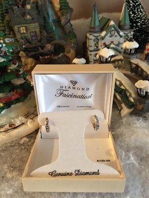 Diamond genuine earrings 10k gold for Sale in Phoenix, AZ