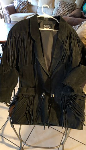 Ladies black leather fringe jacket for Sale in Phoenix, AZ