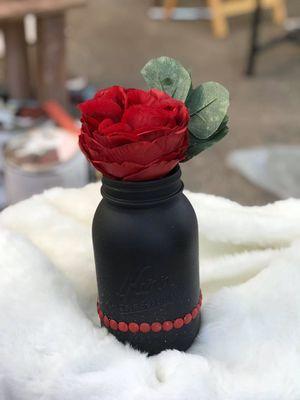 Black & red mason jar flower vase for Sale in Hillsboro, OR