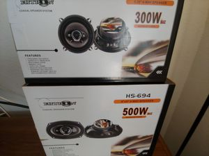 Car speakers : ( 2 pairs ) 1 pair Hitron 5 1/4 inch 4 way 300 Watts & 1 pair 6×9 4 way 500 watts car speakers brand new price is lowest for Sale in Santa Ana, CA