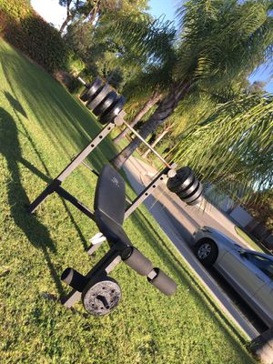 $$375$$ Golds Gym Bench & Weight Bar & 92.5 lbs weights! for Sale in Visalia, CA