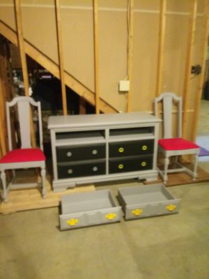 Custom SUPERMAN BATMAN Entertainment center dress SET chairs rolling storage NEW for Sale in Granger, IN