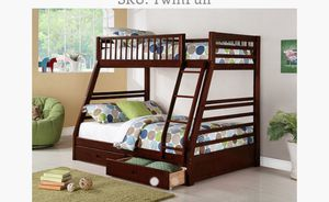 TWIN/FULL BUNK BED WITH UNDER DRAWERS AND MATTRESSES NEW for Sale in Austin, TX