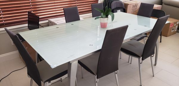 Frosted Contemporary Glass Table w/ Chairs