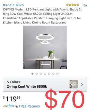 CHYING Modern LED Pendant Light with Acrylic Shade 2-Ring 30W Cool White 6500K Ceiling Light 2400LM Chandelier Adjustable Pendant Hanging Light Fixtu for Sale in Fontana, CA