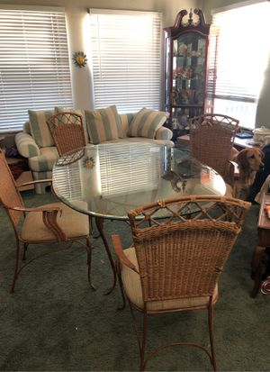 glass/metal/wicker dining room table for Sale in Parker, CO