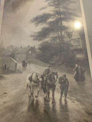 Great vintage print F.R.London no.424 at the hour of curfew for Sale in Yorba Linda, CA