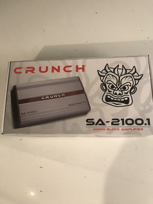 Crunch 2100 watts monoblock amplifier with bass knob ( 1 channel) for Sale in Chino Hills, CA