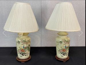 Pair of antique Porcelain Lamps Pheasant peacock Motif size H-28, L-16 for Sale in Westminster, CA