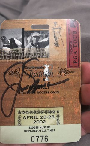 Jack Nicklaus autograph. Incredibly rare. Signed at the countrywide tradition tournament for sale  2002. for Sale