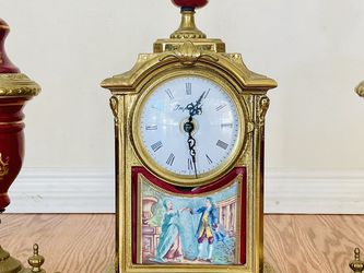 Italy Imperial Brevattato 3-Piece Antique Clock Set Burgundy Red for Sale in Los Alamitos,  CA