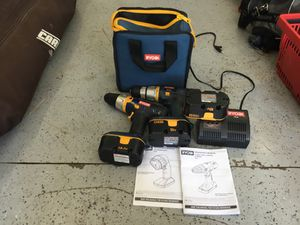 Ryobi drill and mechanical screw driver + charger, bag, and extra battery for Sale in Lakewood Township, NJ