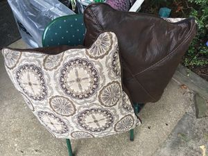 Set of nice lather side throw pillows only 20 Firm for Sale in Glen Burnie, MD