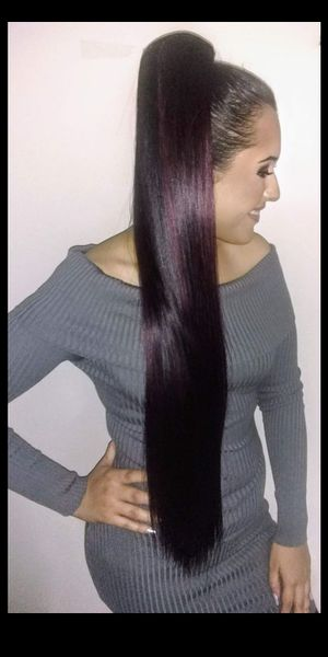 Hair piece Extension Ponytail Extra Long black and Burgundy color new / extra larga nueva for Sale in Anaheim, CA