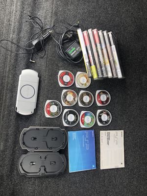 PSP, PSP Game Case, 9 Games, Wall Charger, Car Charger, Instruction Manual for Sale in Seal Beach, CA