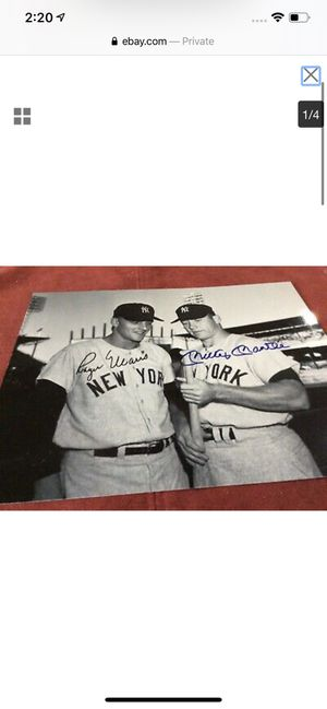 Mickey mantle roger maris signed photo for Sale in Tamarac, FL