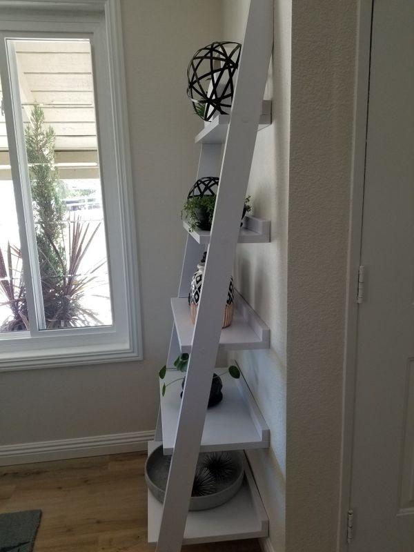 White ladder open shelf cabinet