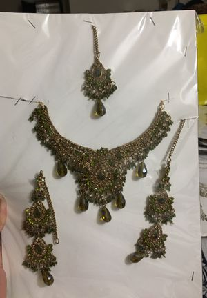Indian bridal / party wears jewelry set for Head set long earrings and neck covering set. New golden, green and light Green olive color beats.Gold for Sale in Fort Washington, MD