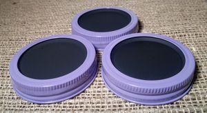 Chalkboard 3 Mason Jar Regular Mouth Lid/Ring Lavender Powder Coat Finish for Sale in Montezuma, OH