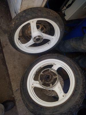 suzuki motorcycle wheel good tires $65 for Sale in Shelton, CT