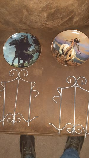 I have four antique indian plates with holders for Sale in Ithaca, NY
