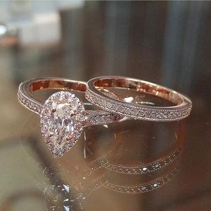 Luxury Sparkling Pear Shape 14K Rose Gold CZ 2PCs Engagement Wedding Ring Set Size 6-7-8 for Sale in Feasterville-Trevose, PA
