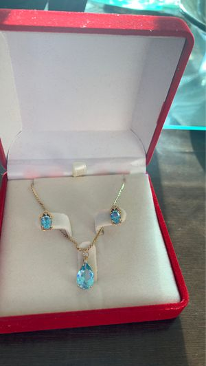 14k yellow gold aqua marine set for Sale in Miami Beach, FL