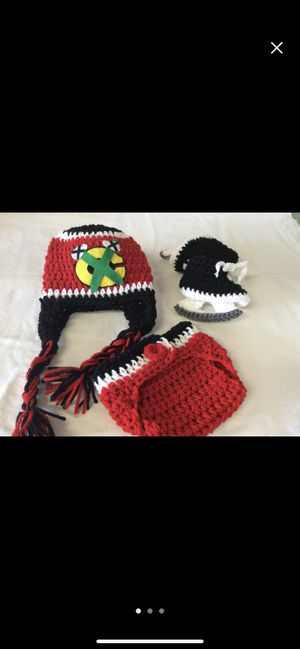 Chicago Blackhawks hockey baby crochet newborn outfit photo shoot for Sale in Plainfield, IL