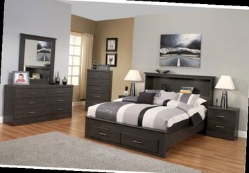 Queen bed frame. Dresser. Mirror. One night stand. for Sale in Pomona,  CA