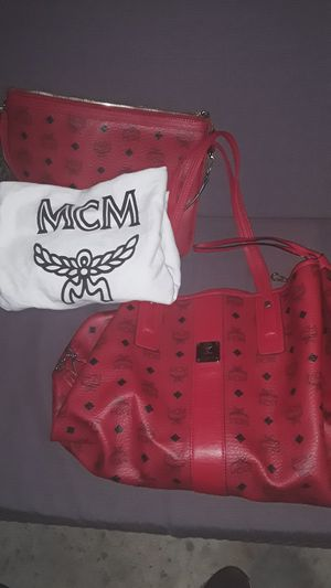 MCM red handbag with small makeup bag for Sale in Yorba Linda, CA