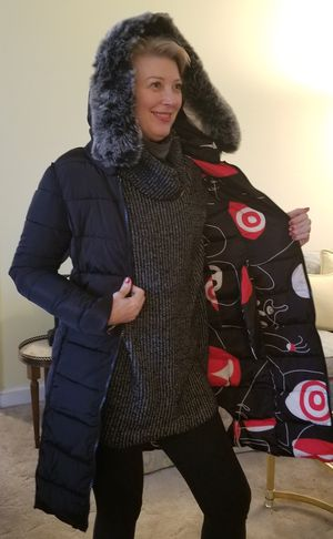 Show your style in this Geo blk & red printReversible Puffy Coat for Sale in Bethesda, MD