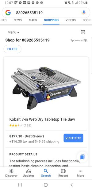 Kobalt 7-in Wet/Dry Tabletop Tile Saw for Sale in Dallas, TX