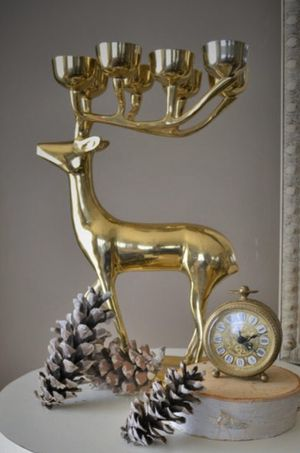 Large Mid Century Solid Brass 8 pt Reindeer Candelabra for Sale in Bow, WA