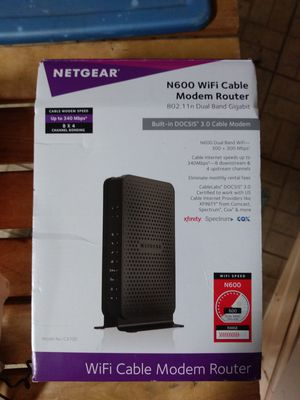 Netgear N600 WiFi cable modem router for Sale in Upland, CA