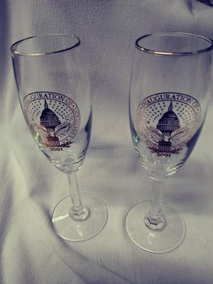 2001 President Vice President Bush Cheney Inauguration Champagne Flute Glass Set of 2 for Sale in TEMPLE TERR, FL