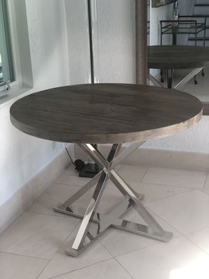 Pottery Barn grey washed wood table with chrome base for Sale in Miami Beach, FL