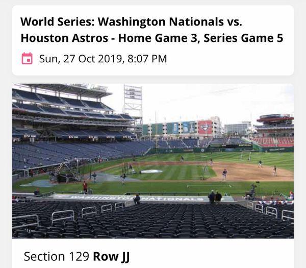 Nationals World Series Tickets