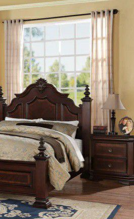 💯🆕Best Price$Charlotte Dark Cherry Poster Bedroom Set for Sale in Columbia, MD