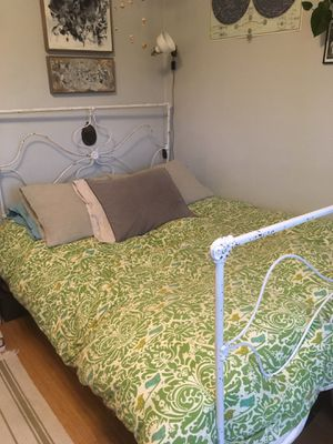 Shabby chic iron bed frame for Sale in Portland, OR