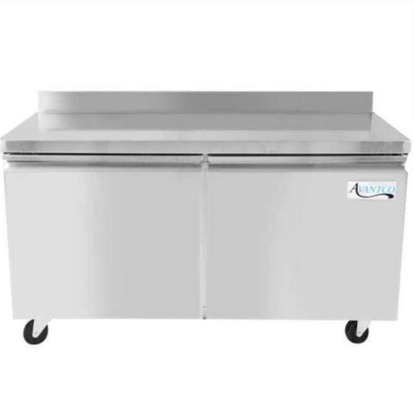 """Avantco TWT-60R 60"""" Double Door Worktop Refrigerator with 3 1/2"""" Backsplash - 17.2 Cu. Ft."""