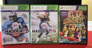 XBOX 360 Lot of 3 Games - NFL Madden 25 & Madden 15 & Kinect Adventures! Good for Sale in Henderson, NV