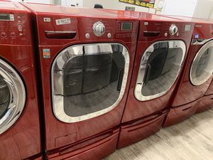 LG red XL washer dryer set electric for Sale in Phoenix, AZ