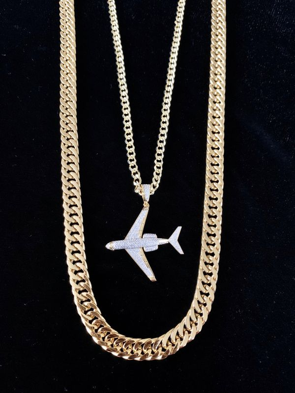 ⭐️ HAPPY VALENTINES DAY PERFECT GIFT!! ⭐️ NEW PRIVATE JET FULL DIAMONDS CZ 18K GOLD CHAIN